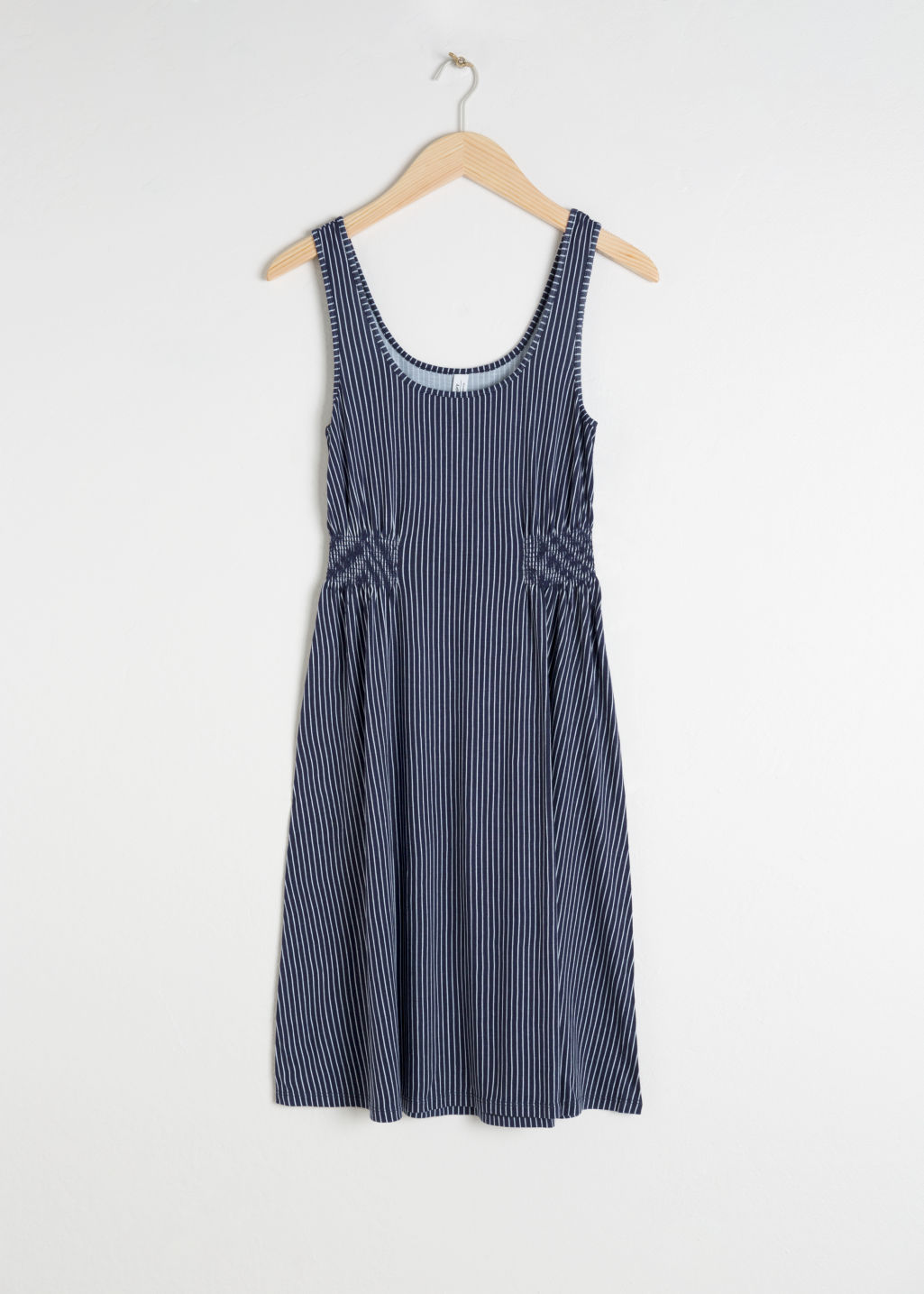 Front image of Stories printed summer dress in blue