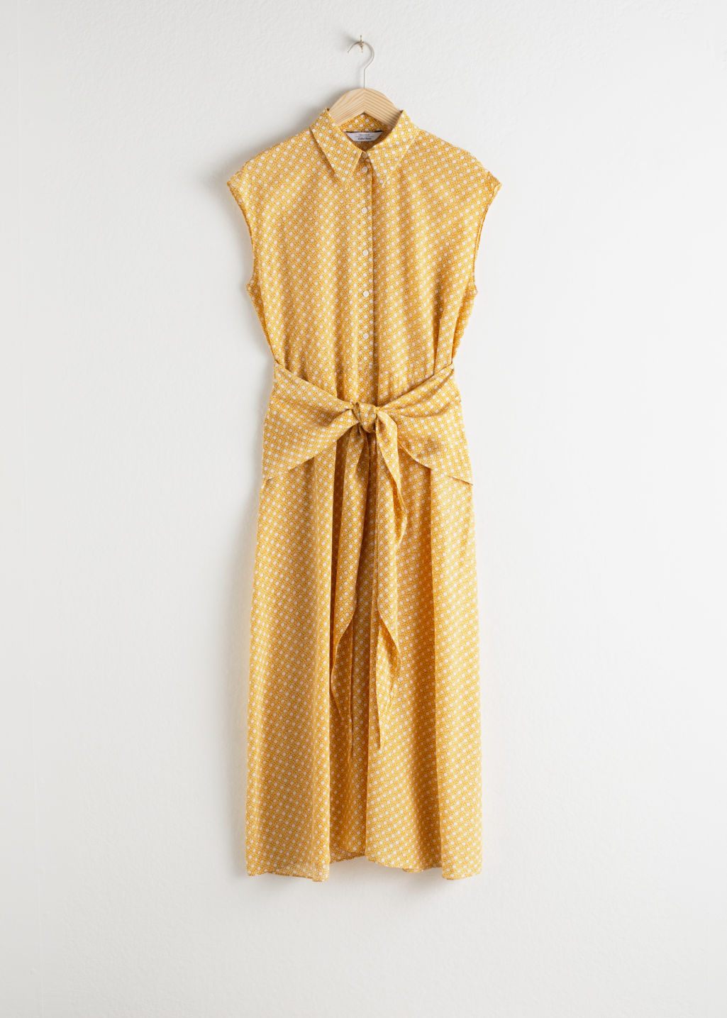 StillLife Front Image of Stories Waist Knot Midi Dress in Yellow