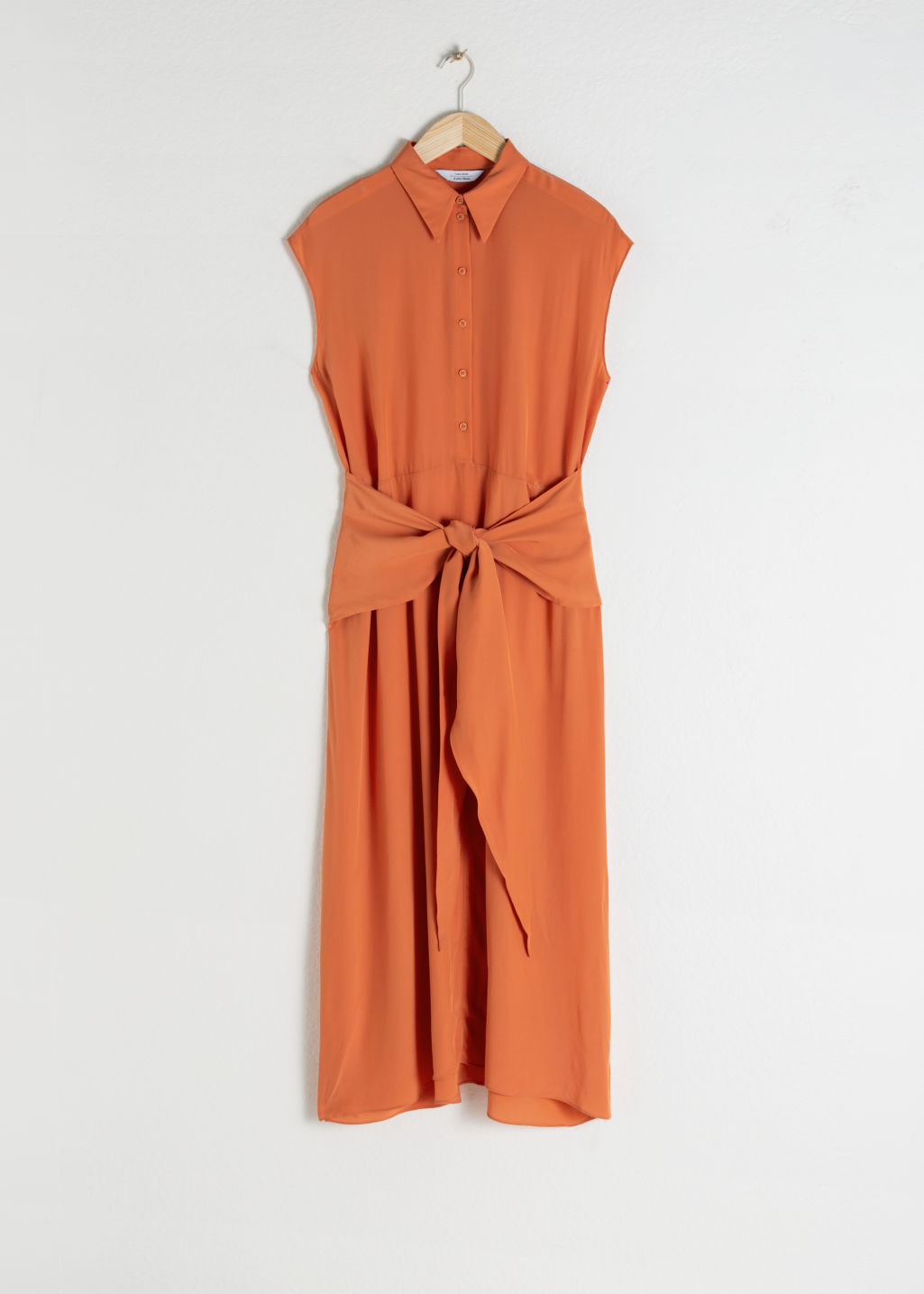 StillLife Front Image of Stories Waist Knot Midi Dress in Orange