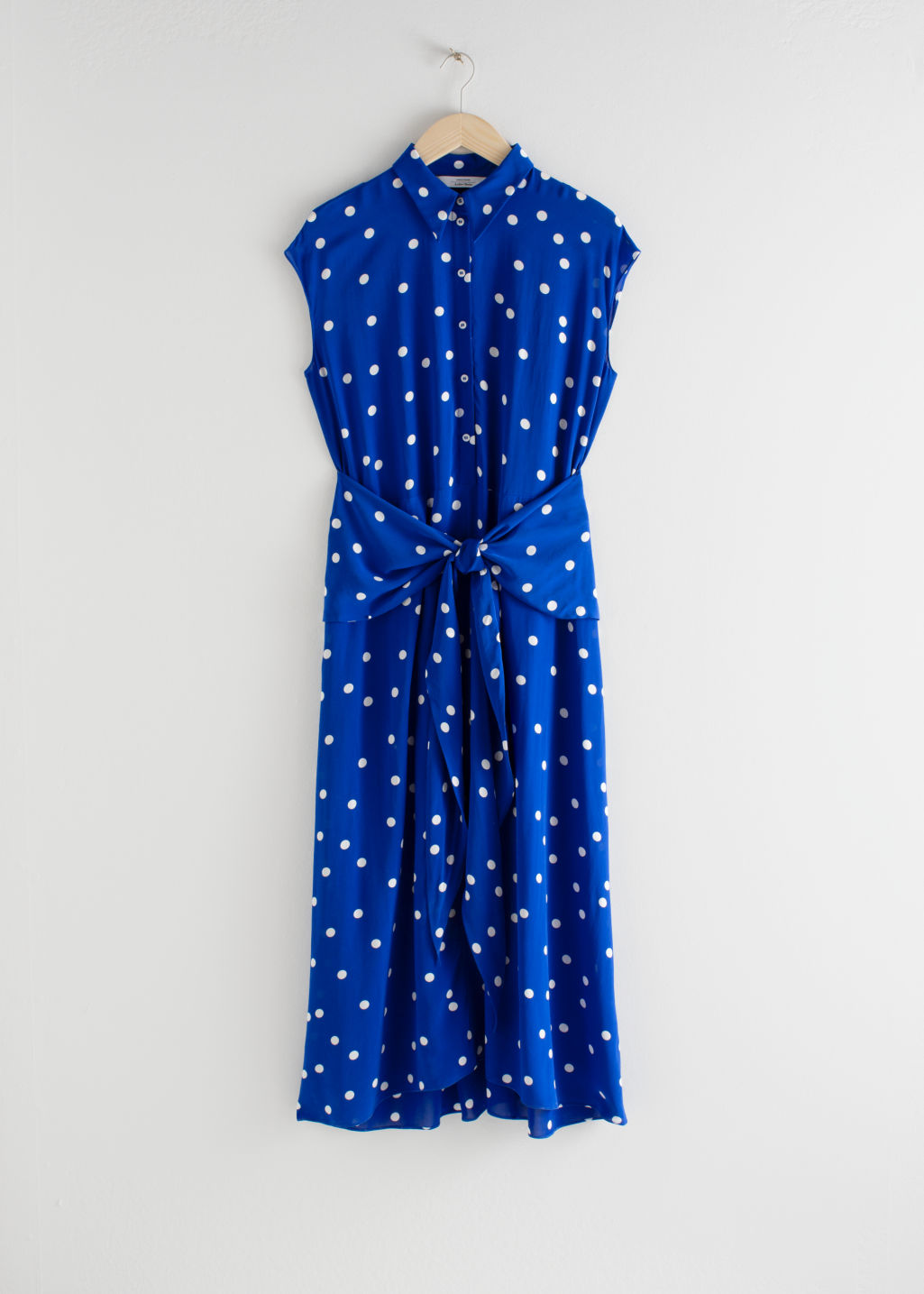 Front image of Stories waist knot midi dress in blue