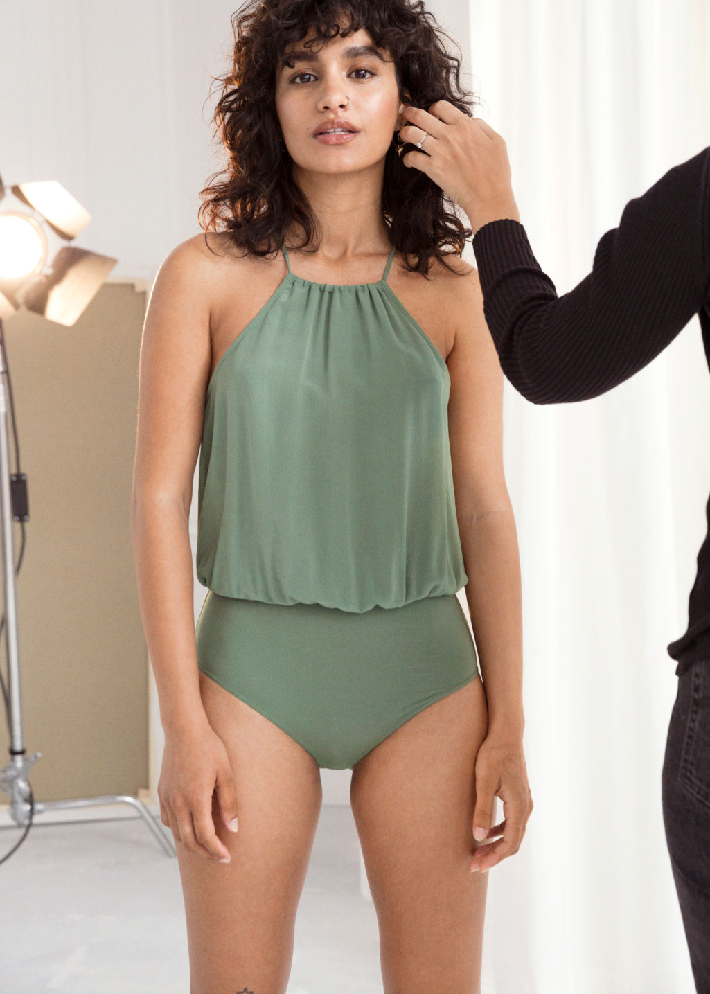 Back image of Stories ruched halter silk bodysuit in green