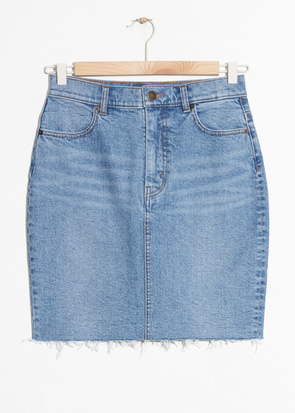 Front image of Stories raw hem denim pencil skirt  in blue