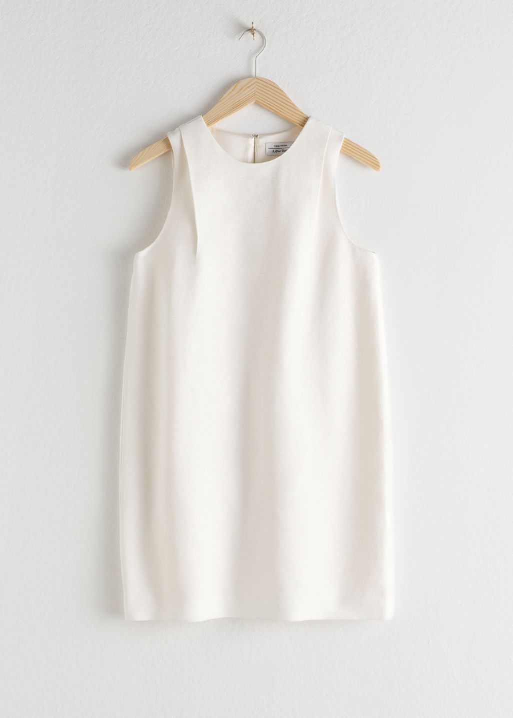 Front image of Stories mini shift dress in white