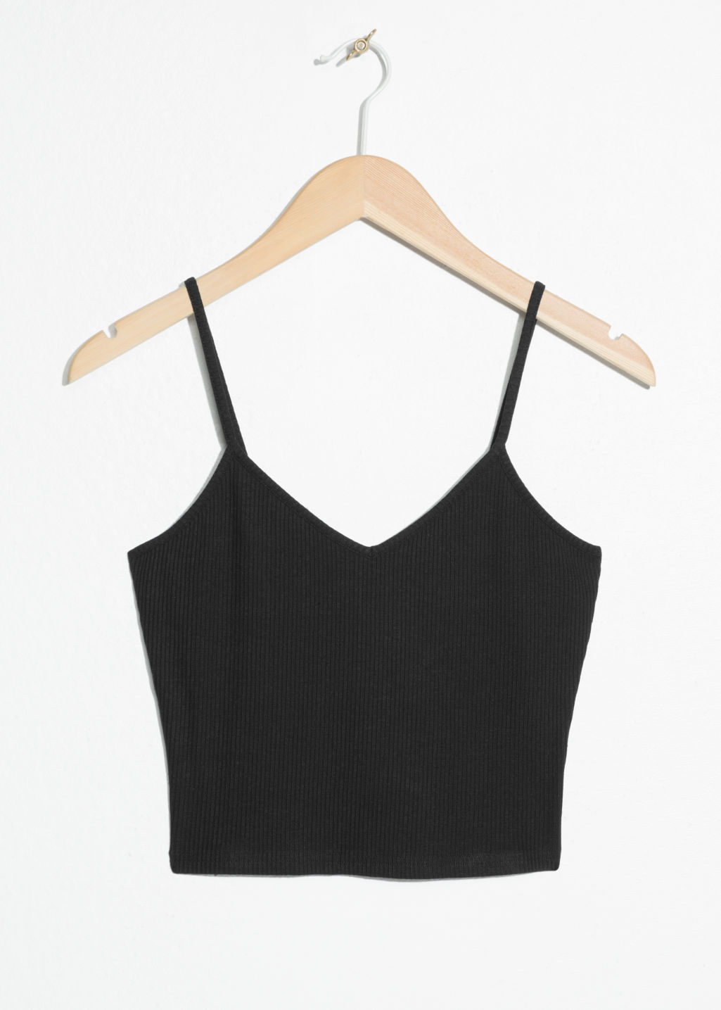 Front image of Stories ribbed crop tank top in black