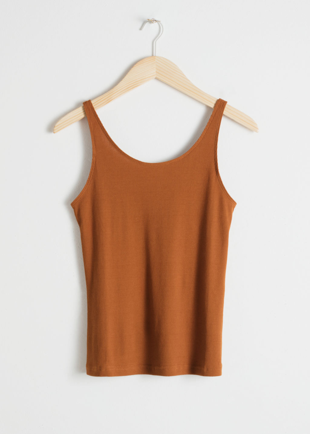 Front image of Stories fitted scoop back tank top  in orange