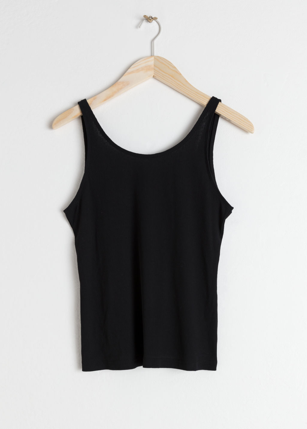 Front image of Stories fitted scoop back tank top  in black