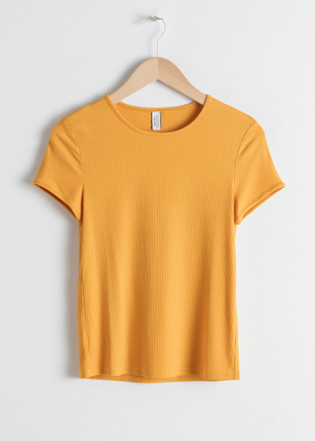 Front image of Stories fitted ribbed tee in yellow