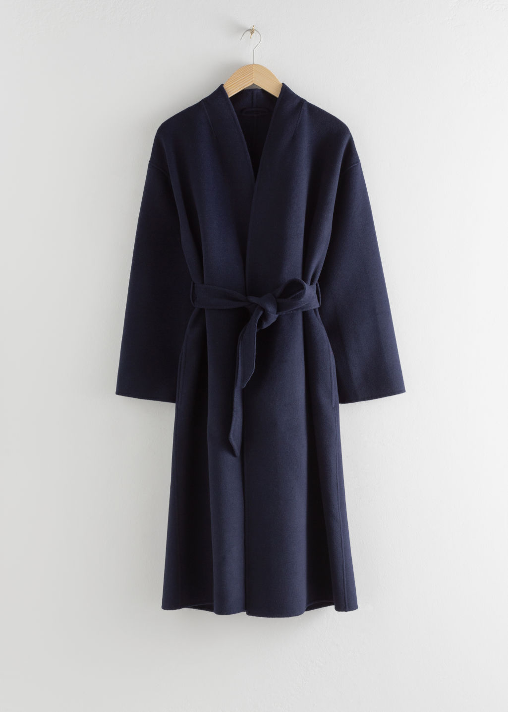 Front image of Stories belted wool blend coat in blue