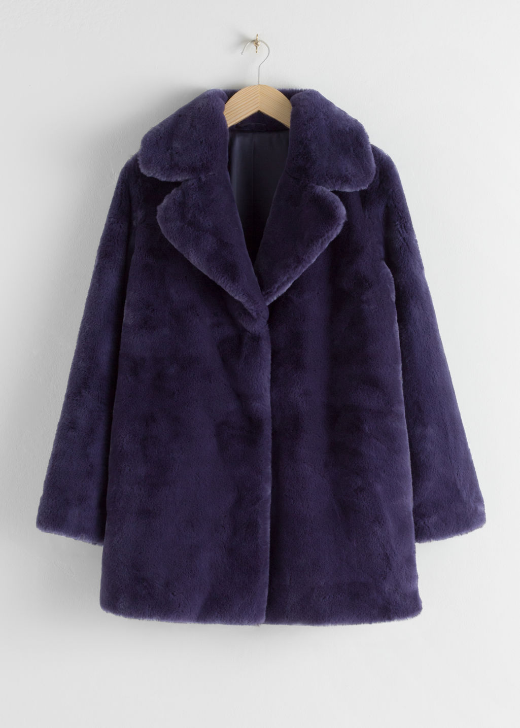 Front image of Stories short faux fur coat in purple