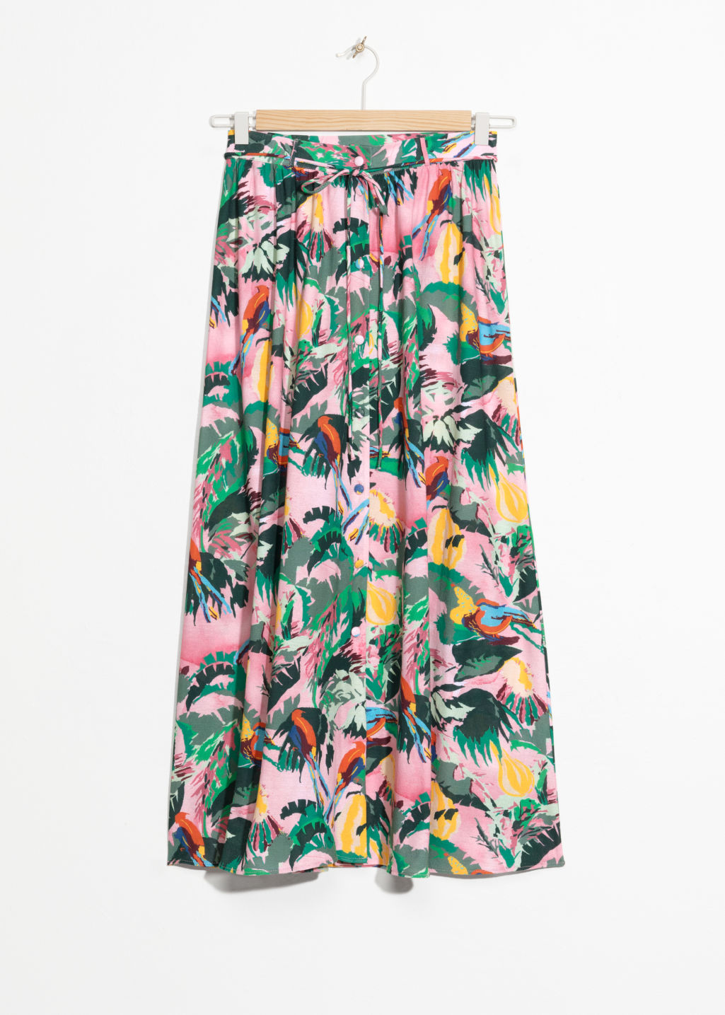 Front image of Stories tropical print maxi skirt in pink