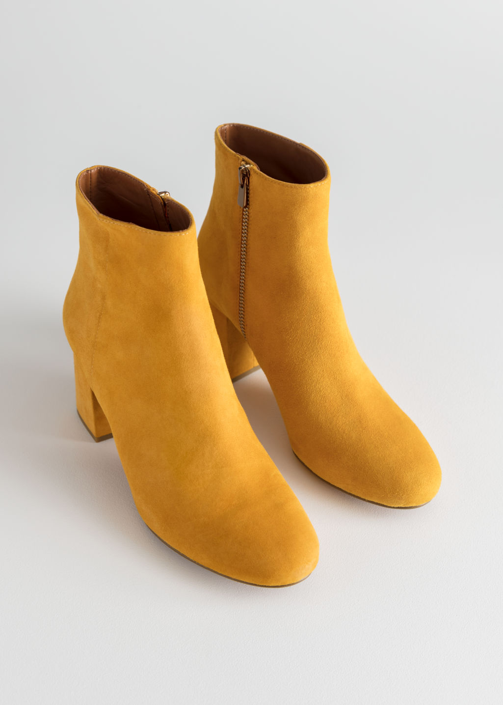 Back image of Stories suede ankle boots in yellow