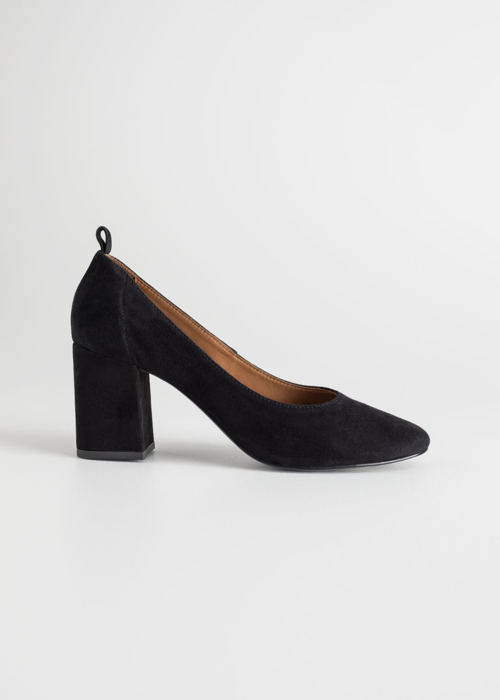 Front image of Stories block heel ballerina pumps in black
