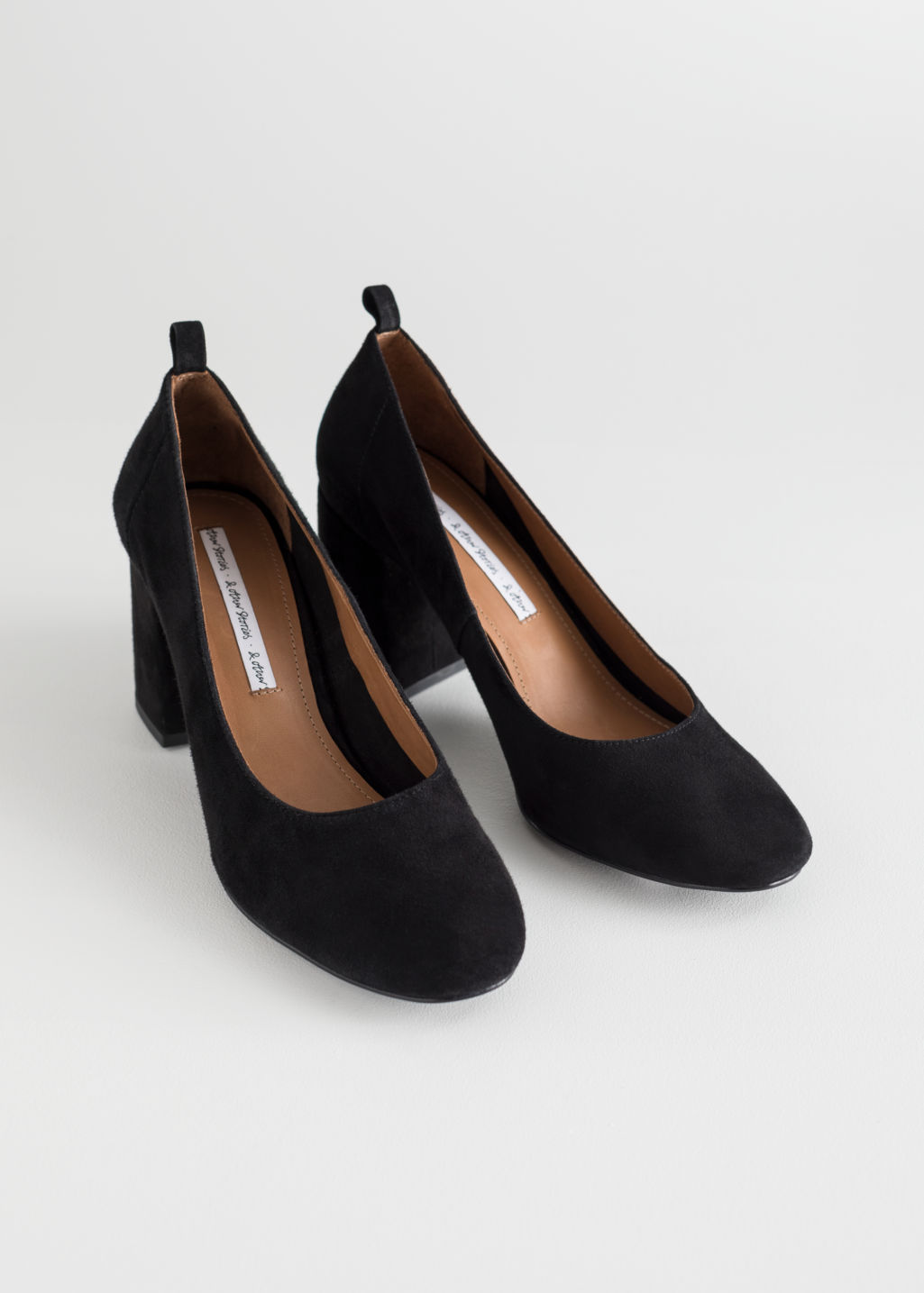 Back image of Stories block heel ballerina pumps in black
