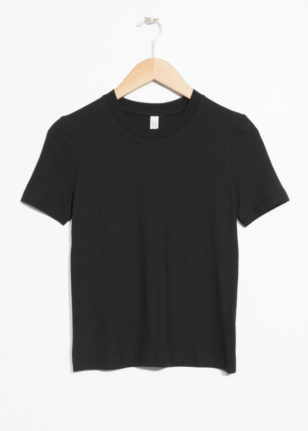 Front image of Stories fitted crewneck tee in black