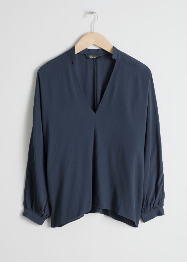 Billowy V-Neck Blouse
