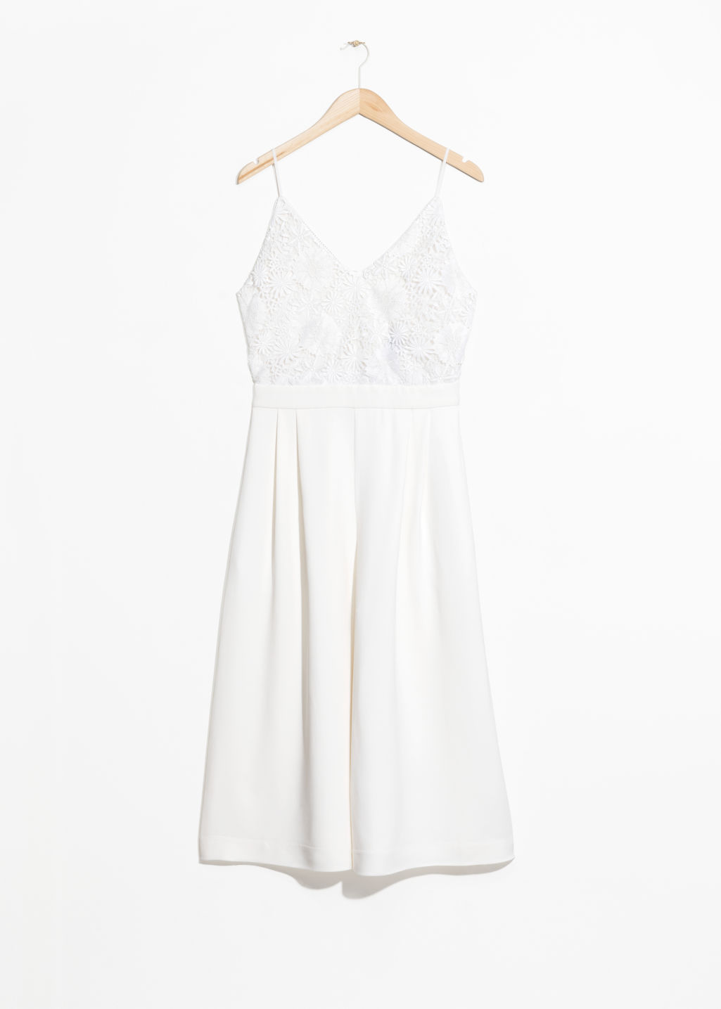 Front image of Stories lace culotte jumpsuit  in white