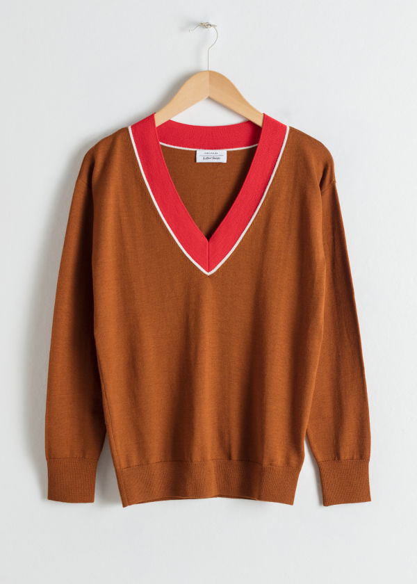 Wool V-Neck Varsity Sweater
