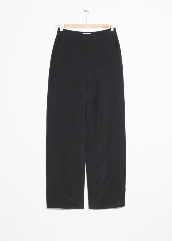 Front image of Stories straight fit trousers in black