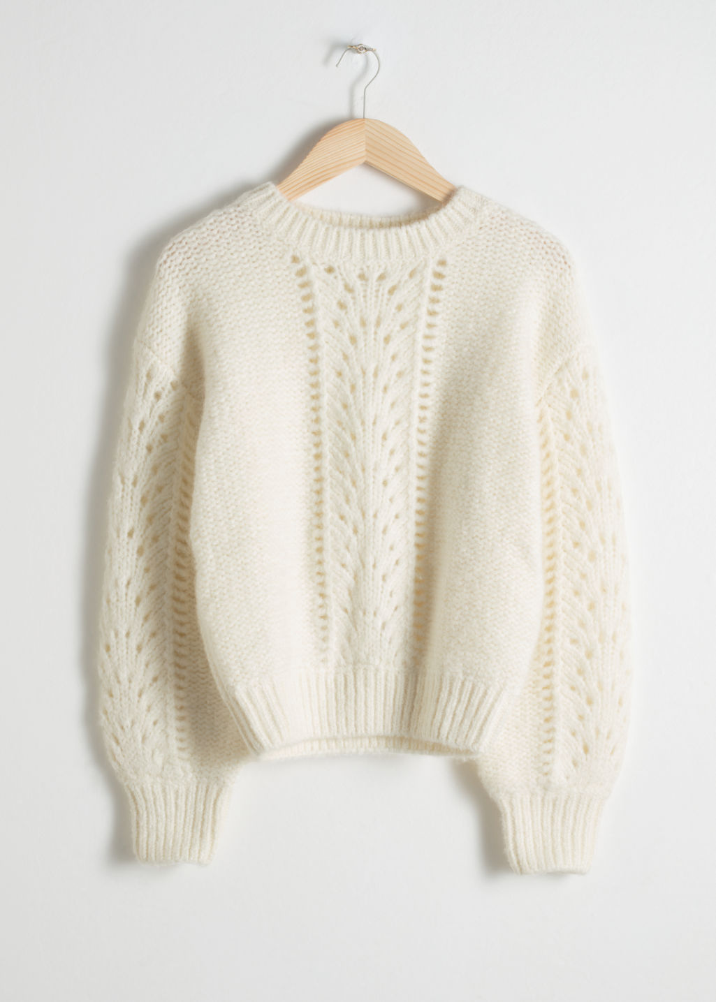 StillLife Front Image of Stories Eyelet Knit Sweater in White
