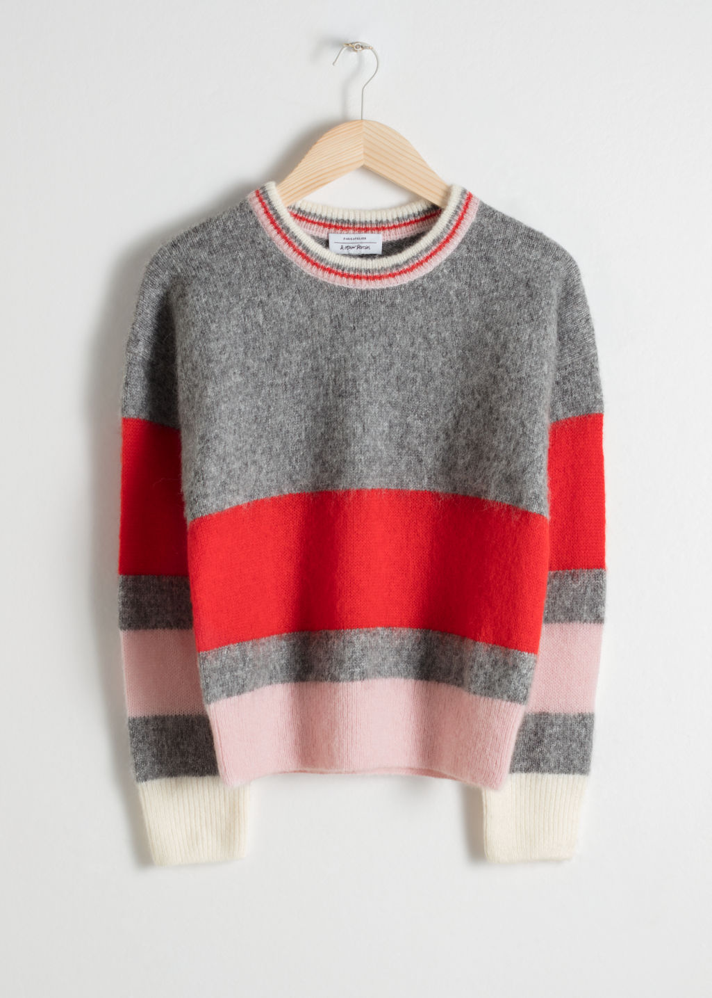 Front image of Stories wool blend striped sweater in grey