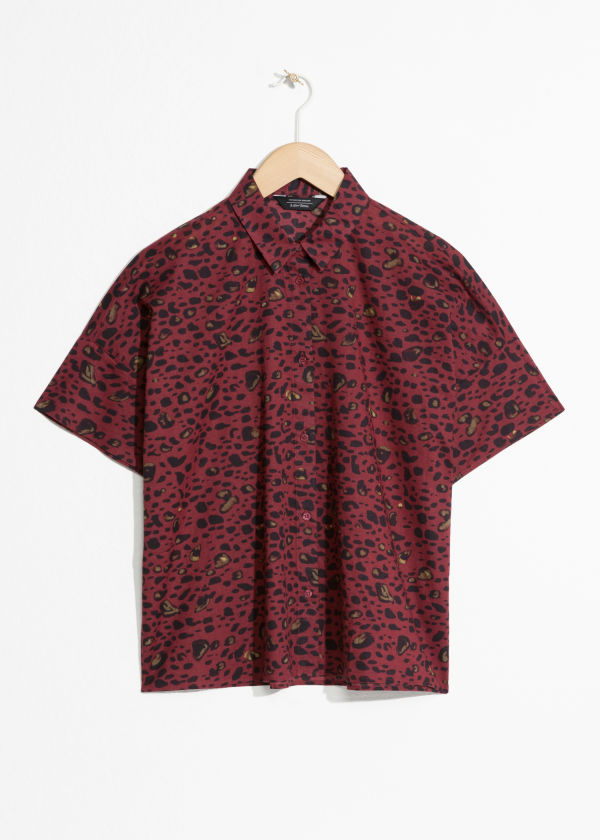 Front image of Stories oversized abstract leo shirt in red