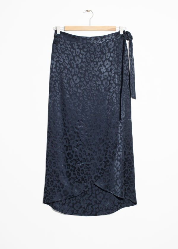 Front image of Stories jacquard leopard midi skirt  in blue