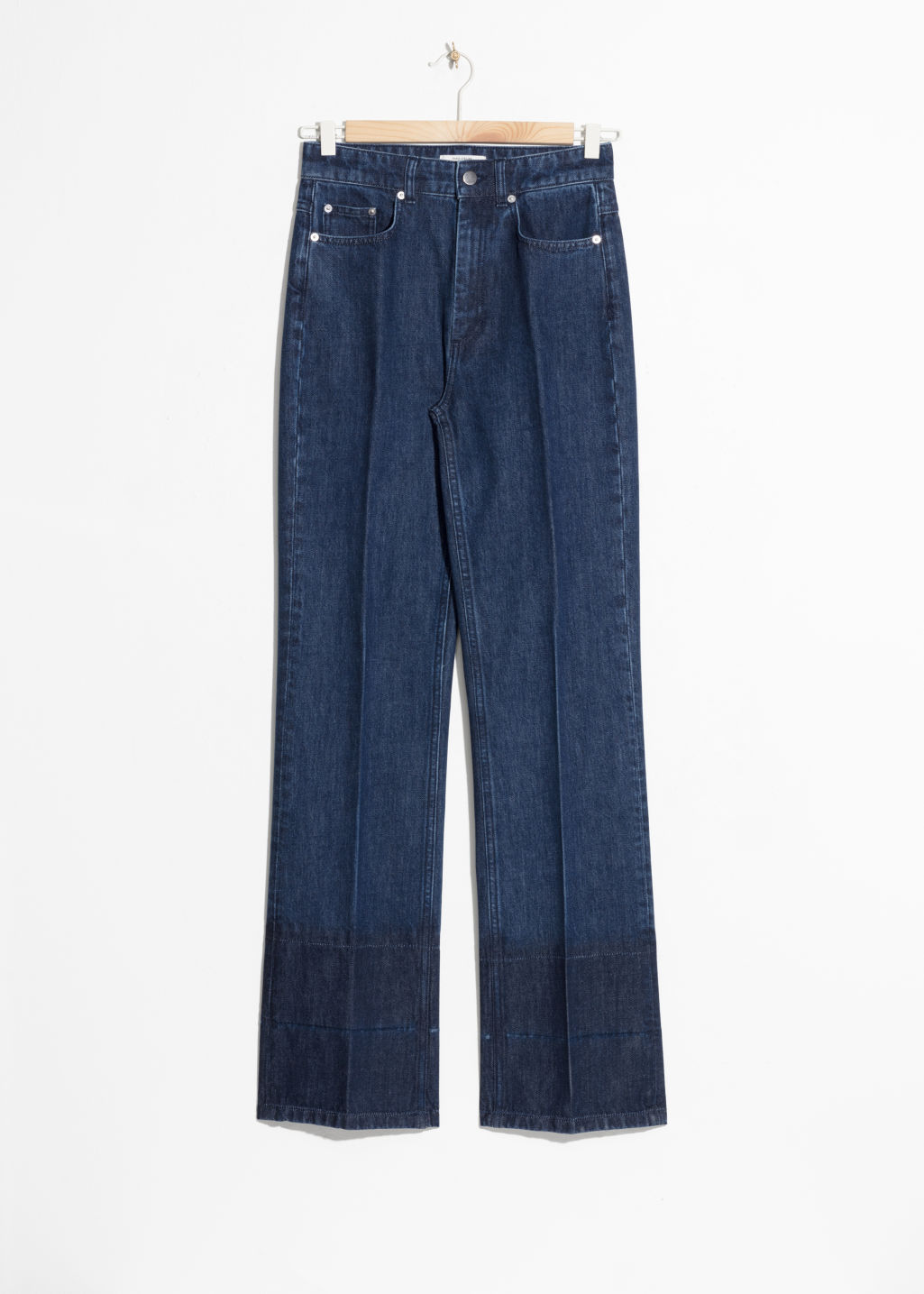 Front image of Stories high waisted flare jeans  in blue