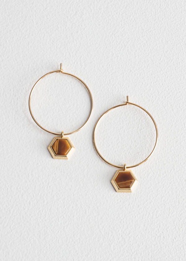 Front image of Stories hexagon charm hoops in yellow