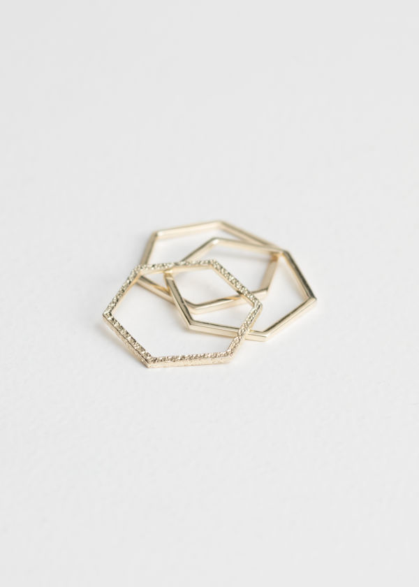 Hexagon Trio Ring Set