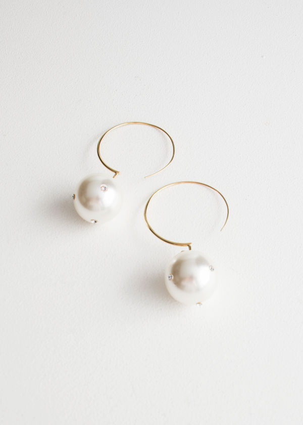 Jewelled Pearl Hoop Earrings