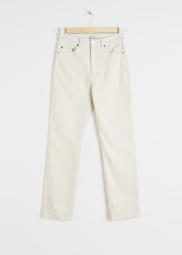 High Waisted Slim Corduroy Trousers