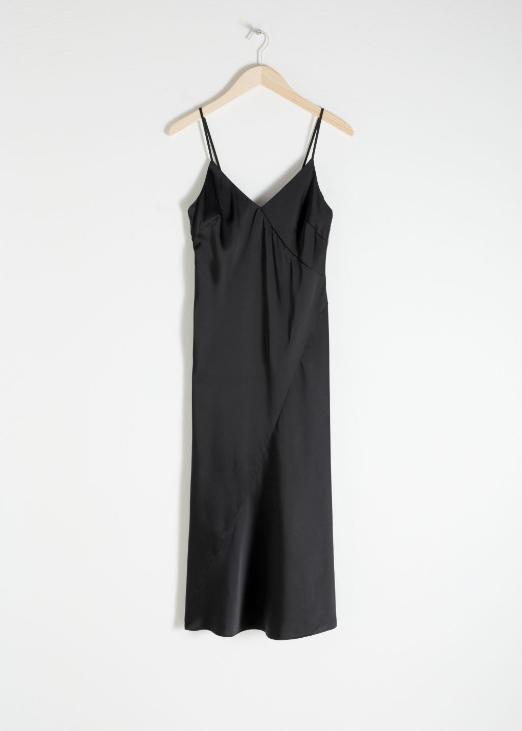 Front image of Stories midi slip dress in black