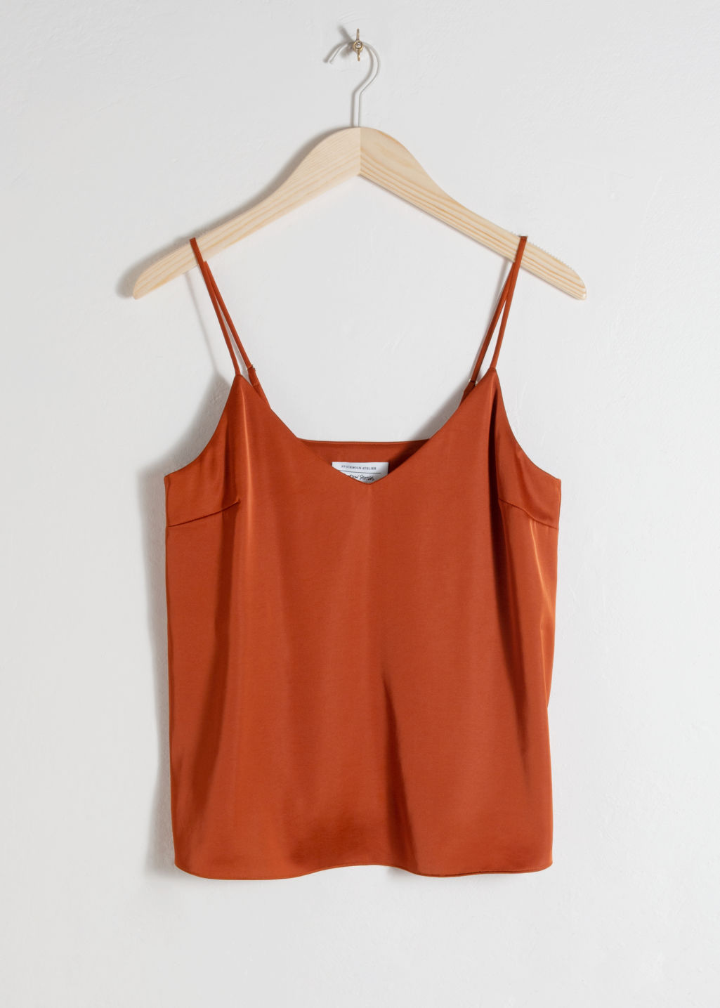 Front image of Stories slip tank top  in orange