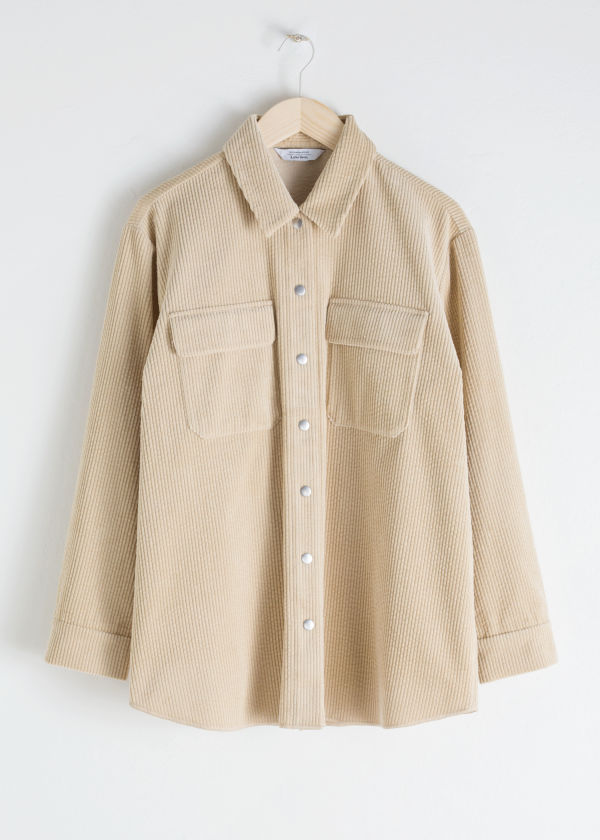 Front image of Stories oversize corduroy workwear shirt in beige