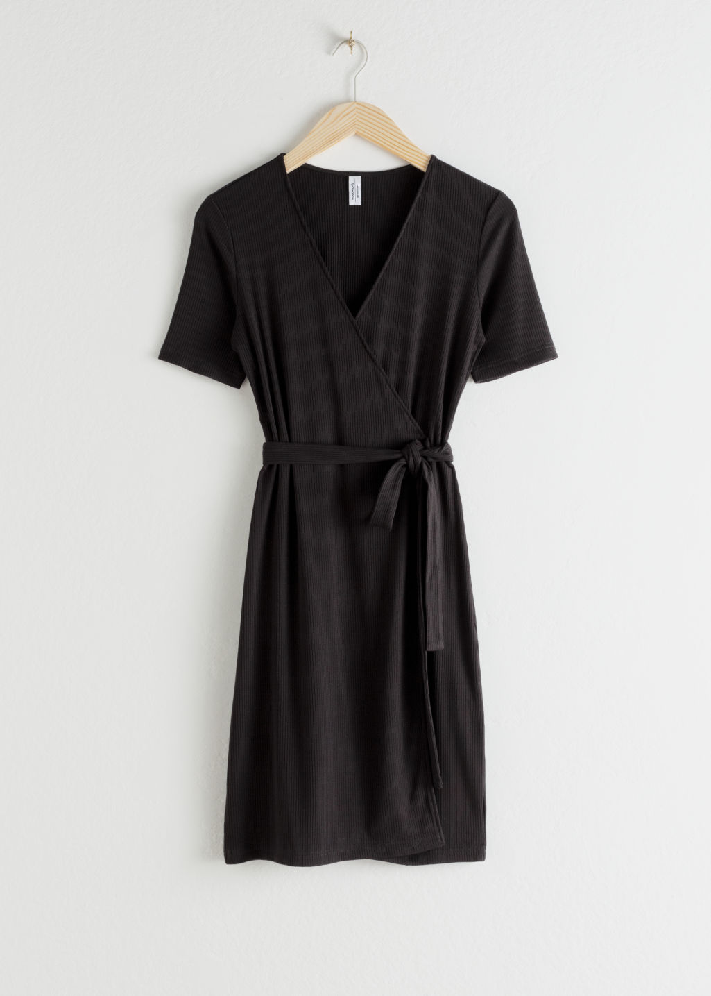 StillLife Front Image of Stories Stretchy Ribbed Wrap Dress in Black