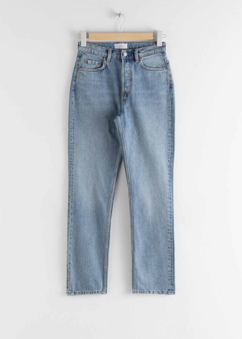 Front image of Stories straight high rise jeans in blue