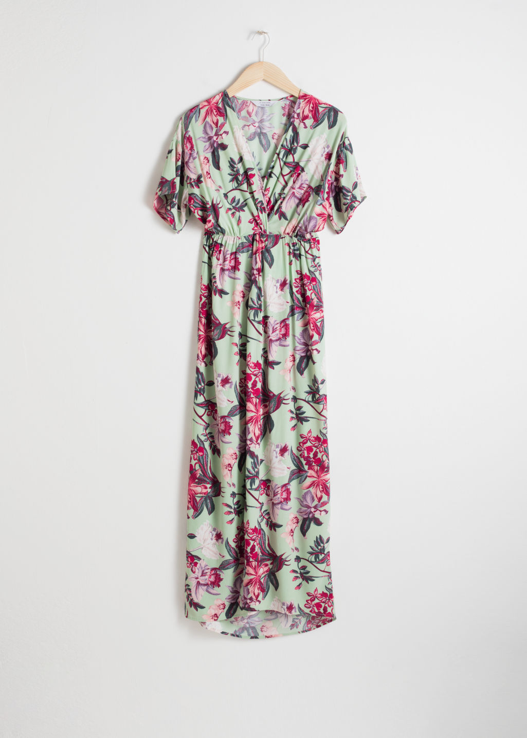 Front image of Stories twist knot kaftan maxi dress in green