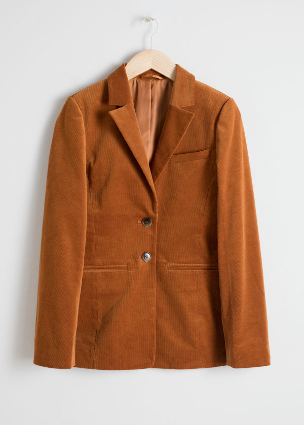 Front image of Stories corduroy blazer in orange
