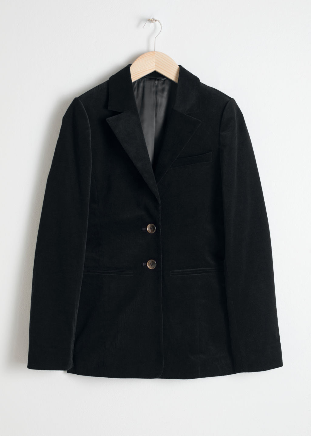 Front image of Stories corduroy blazer in black