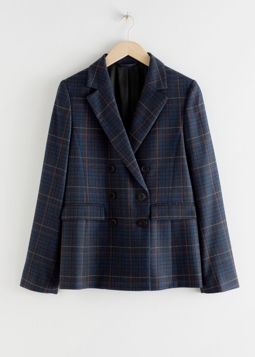 Front image of Stories wool blend plaid blazer in blue