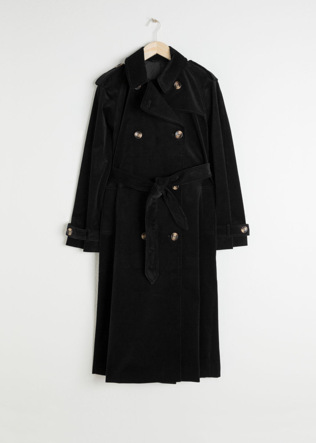 Front image of Stories belted cotton cord trenchcoat in black