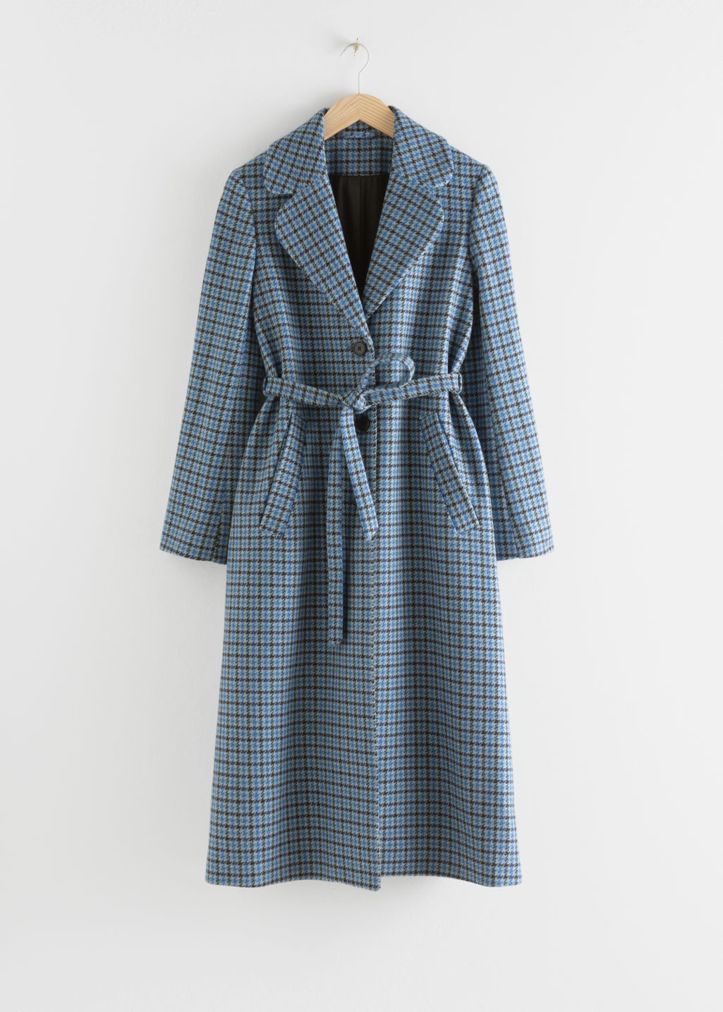 Front image of Stories a-line wool blend belted coat in blue