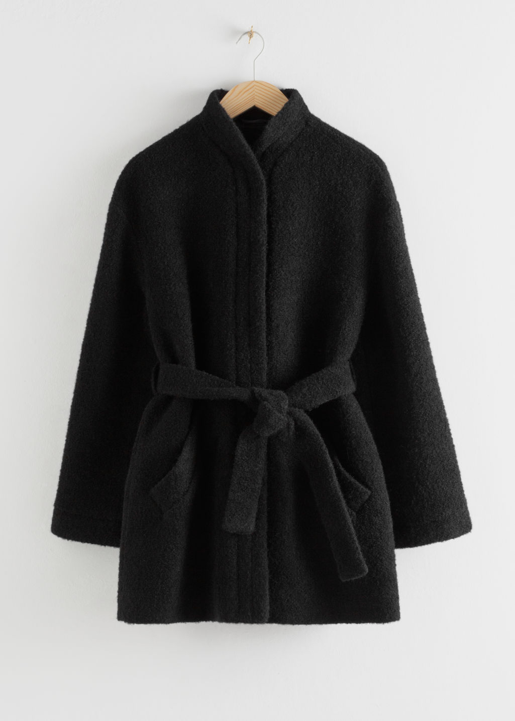 Front image of Stories wool blend belted jacket in black