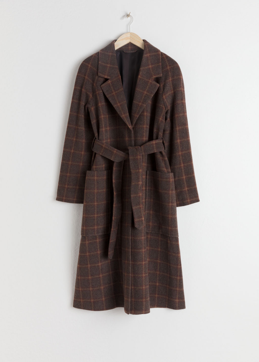 Front image of Stories belted wool blend check coat in brown