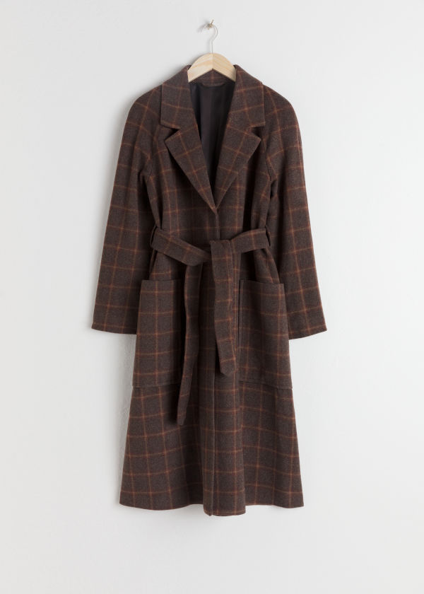 Belted Wool Blend Check Coat