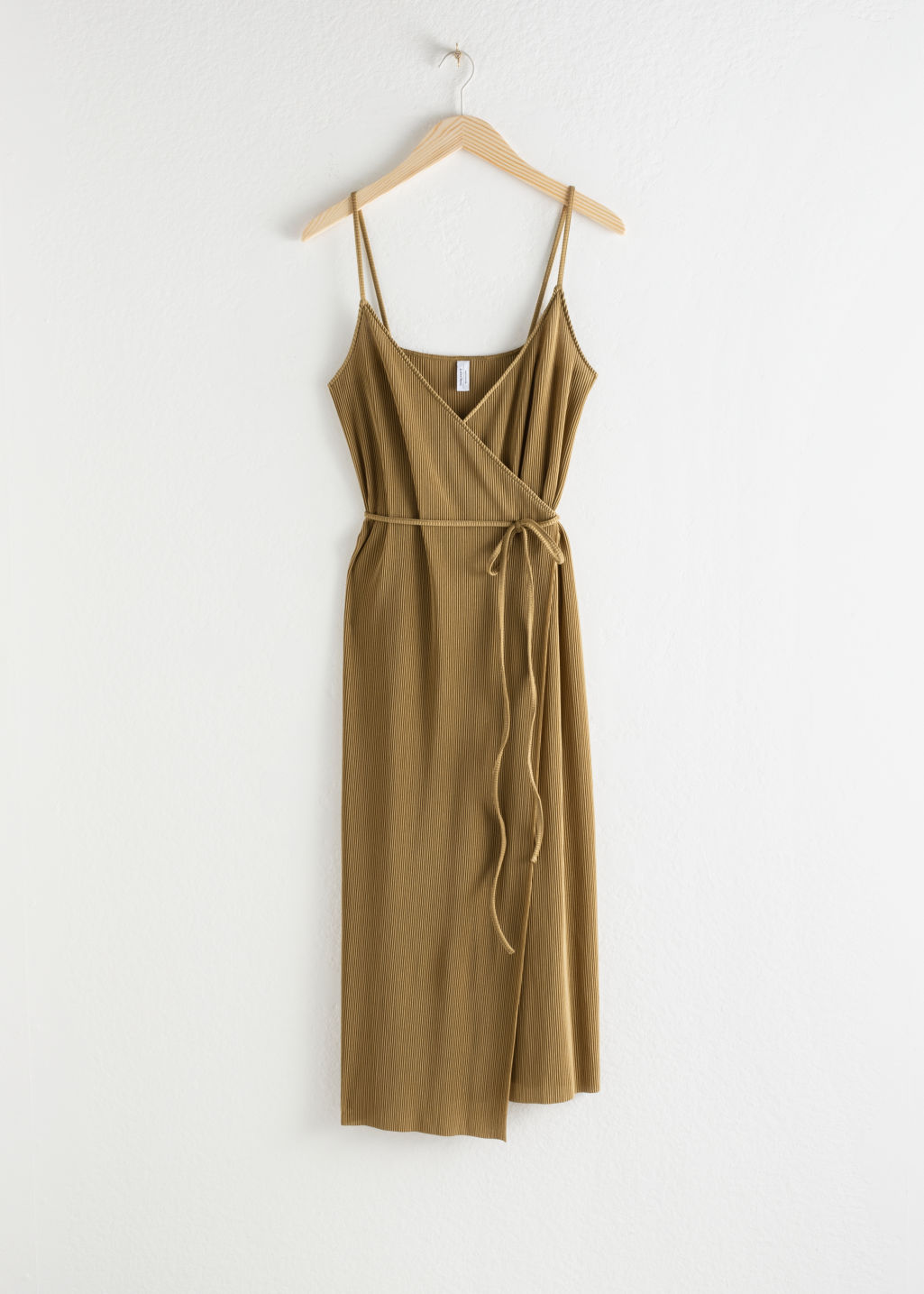 Front image of Stories ribbed wrap midi dress in beige