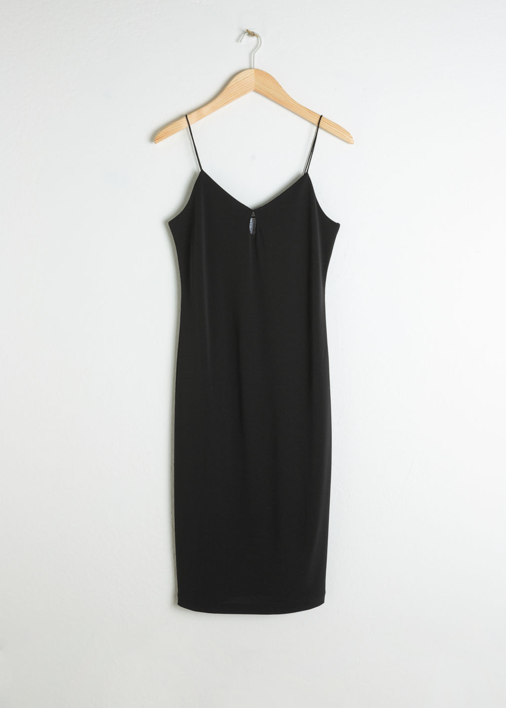 Front image of Stories fitted keyhole midi dress in black