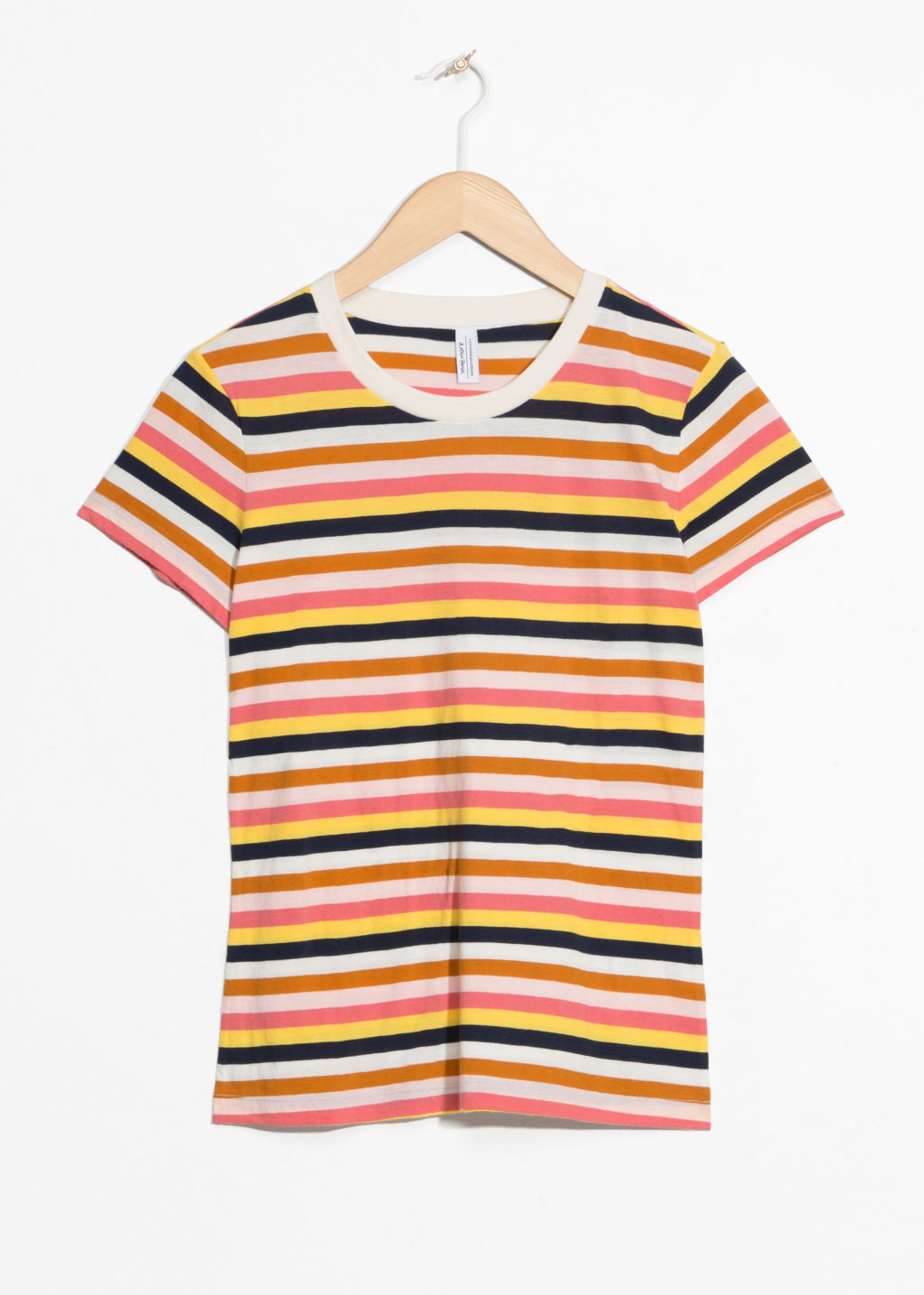 Front image of Stories striped ringer tee in yellow