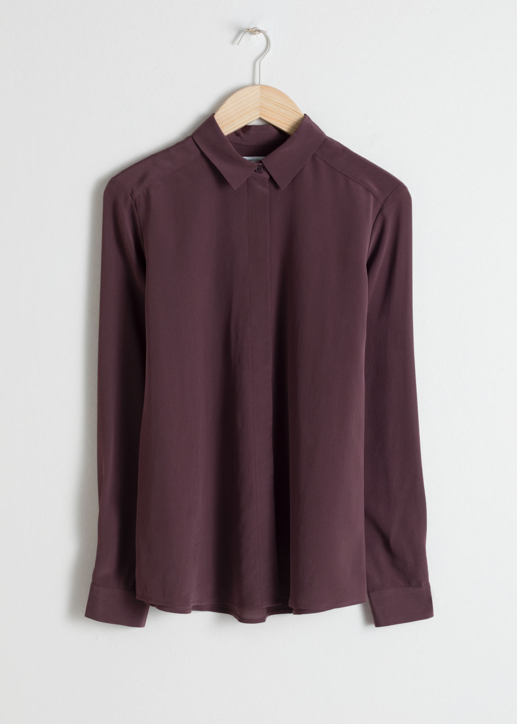 Front image of Stories silk button down shirt in purple