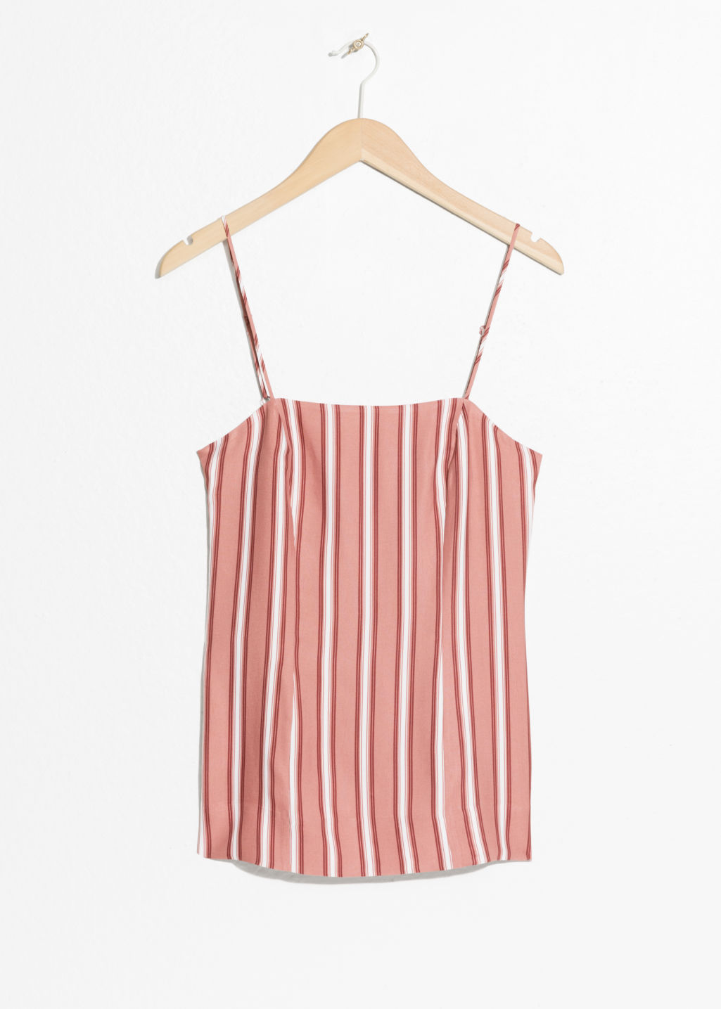 Front image of Stories striped tank top  in pink